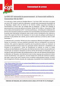 logo Communiqué - La FERC CGT interpelle le gouvernement : la France doit ratifier la Convention 190 de l'OIT !